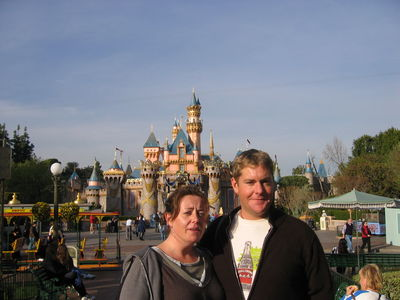 Vic and Nigel in front of Sleeping Beauty's Castle, Disneyland