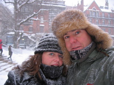 Vic and Nigel on Boston Common, Blizzard of 2006