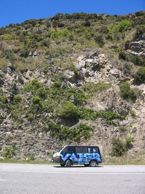 Our lovely Darth Vader in Arthur's Pass, courtesy of Wicked Campers